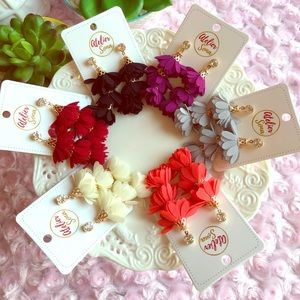 Flower Petal Layered Tassel Earrings